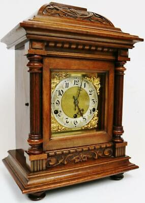 Antique German 8 Day Highly Carved Oak Westminster Chime Musical Bracket Clock