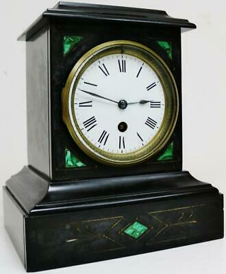 Small Antique French 8 Day Slate & Malachite Panelled Timepiece Mantel Clock