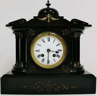 Antique French 8 Day Architectural Slate Bandstand Gong Striking Mantel Clock
