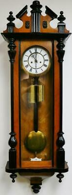 Antique German Twin Weight 8Day Striking Carved Walnut & Ebony Vienna Wall Clock