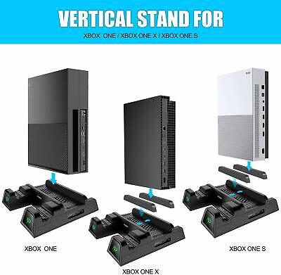 Xbox One Cooling Fan Stand Vertical Dual Charging Station Game Storage All in On