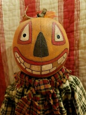 Primitive Style Hanging Pumpkin Head Witch ~ Handpainted Pumpkin Doll  Witch ~