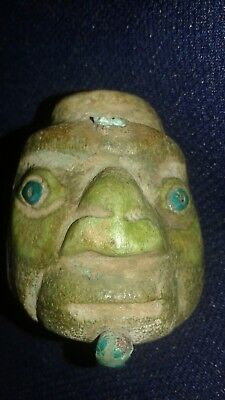 Chavin small inhaler green bone head warrior  Maya,precolumbian,moche