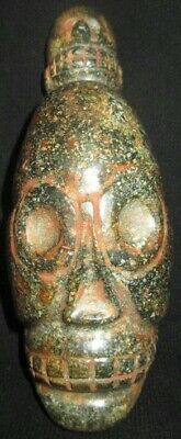 Moche Stone of Pre-Columbian deformed elongated head of trepanation Chavin,