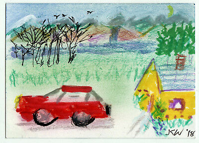 JKW Trees Car Mountains Waterfall Cottage Landscape Art ACEO Original Painting