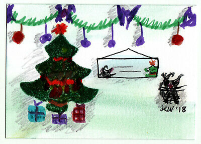 JKW Christmas Tree Decorations Gifts Black CAT Folk Art ACEO Original Painting