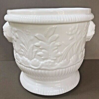 NEW! VTG White Ceramic PORCELAIN MMA 1993 CACHEPOT Planter FLOWERS Embossed Vase