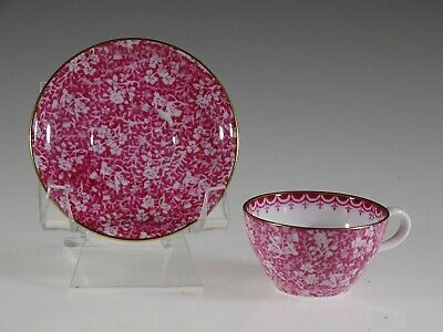 Spode Pink Floral Chintz (Y4762) Miniature Tea Cup and Saucer, England