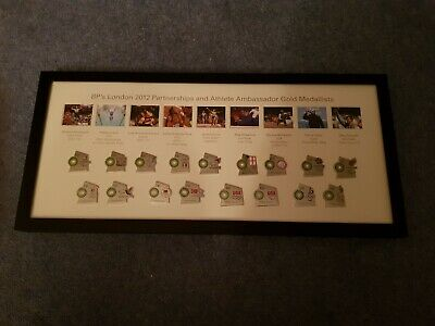 LONDON 2012 OLYMPIC GAMES framed pictures and badges pre-owned good condition