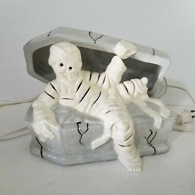 """Pottery Composition Halloween Light Up Mummy On Coffin Decoration 9"""" Length"""