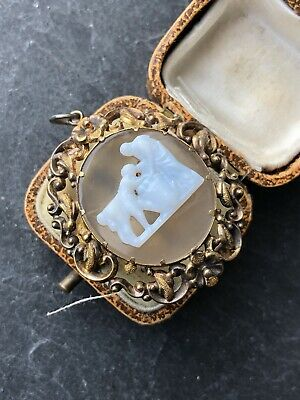 Antique Victorian Yellow Metal Ornate Cameo Necklace  Pendant