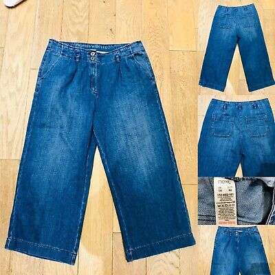 Women NEXT Cropped Wide Leg Jeans Size 14 Blue Denim Trousers Fly/Pockets Immacu