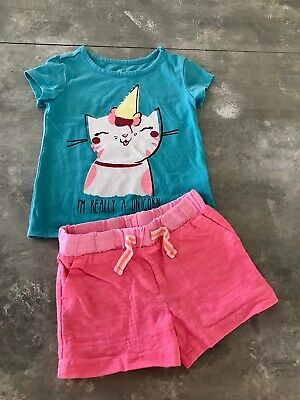 Girls Carters Okie Dokie Unicorn Top Pink Shorts Outfit Set Size 2T