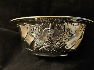 ODIOT PARIS French .950 Silver Bowl With Gold Wash Interior Heraldic Crest