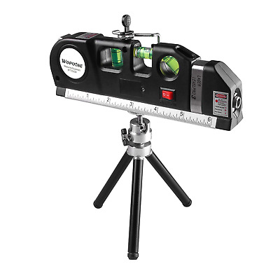 Laser Level, Tape Measure 8ft/2.5M, Spirit Level, Multi-Purpose Tool with Stand