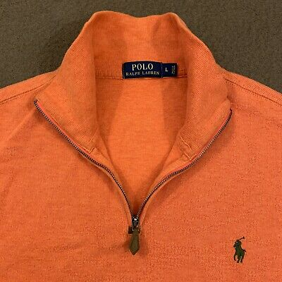 Mens Polo RALPH LAUREN Orange Quarter Zip Sweater Large