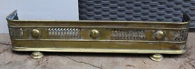 Vintage Brass Victorian Footed Fireplace Fender
