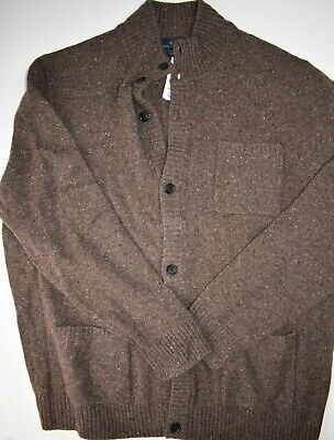 Brooks Brothers Mens Heather Brown Merino Wool Button Up Sweater XXL 2XL