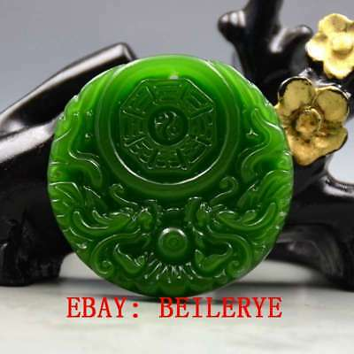 Chinese Natural Green Hetian Jade Hand-carved Dragon Pendant BY40
