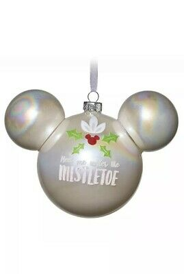 Disney Parks Mickey Mouse Icon Blown Glass Ornament Mistletoe New With Tags