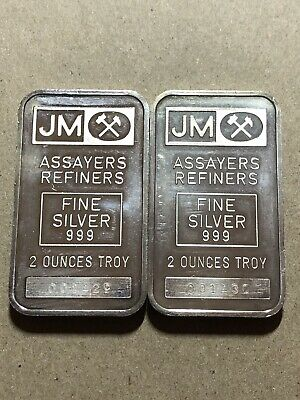 2 X J&M Johnson Matthey 2 oz Silver Bar Blank Back Consecutive Serial Numbers