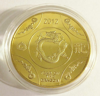 "1 OZ 2012 ""Year Of The Dragon"" Australia Coin Finished with 999 24 K Gold"