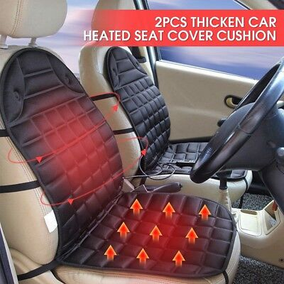 Universal Cold Winter 12V Car Seat Pad Cushion Cover Heating Heater Warm 2Pcs