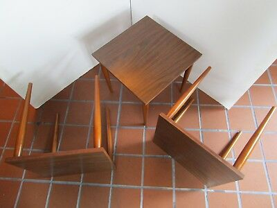 Mid Century Stacking Set 3 Tables Formica Wood Grain tapered legs 1960's ATOMIC