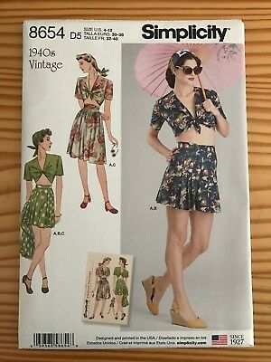 Simplicity 8654 Sewing Pattern Skirt, Short and Tie Front Top (1940's Reprint)