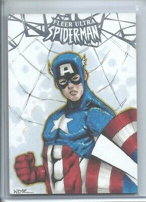 2017 Fleer Ultra Spider-Man Captain America Sketch 1/1 Artist Walter Rice