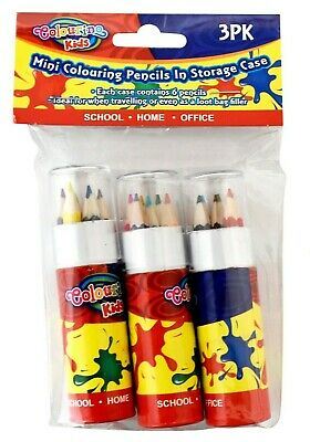 18X MINI COLOURING PENCILS IN TUBE SERIES KIDS CRAFT DRAWING 3pk