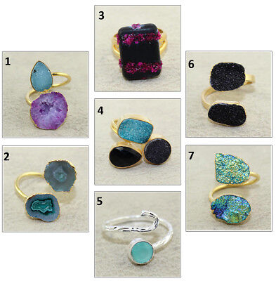 Natural Geode Druzy Onyx Silver Gold Plated Adjustable Handmade Ring Jewelry