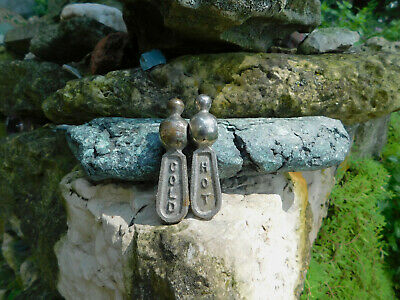 Vintage Set Of Hot And Cold Metal Faucets Levers Antique Sink