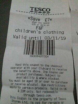 Tesco Voucher £7.30 Off In Store  Valid until 03/11/19 clothing and food