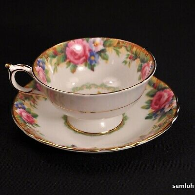 Paragon Footed Cup & Saucer Tapestry Rose Pink Roses w/Gold 1957-1960