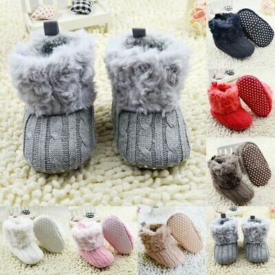 Infant Baby Kids Snow Boots Fleece Knit Booties Winter Warm Crib Shoes Sneaker