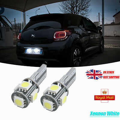 For Citroen C4 Ds4 C3 Ds3 Ds5 T10 5Smd Led White Bulbs Number Plate Free Error