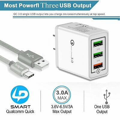 3 Port Fast Quick Charge QC 3.0 USB Hub Wall Charger Power Charging Adapter
