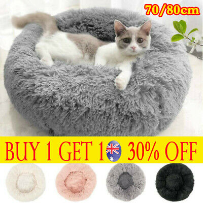 Pet Dog Cat Calming Bed Warm Soft Plush Round Nest Comfy Sleeping Kennel Cave TH