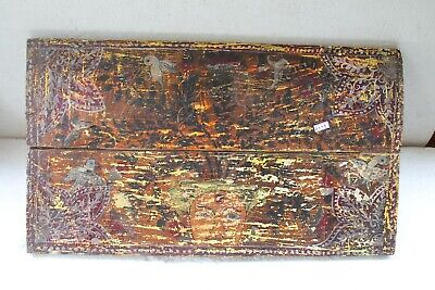 Antique Old Solid Wooden Birds Flower Hand Painted Wall Hanging Panel NH6099