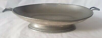 STRIKING HOWARD walker & hall PEWTER ART DECO HAMMERED FOOTED DISH