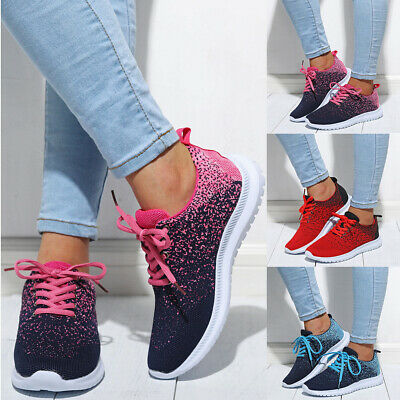 Women Breathable Trainers Ladies Lace Up Gym Sports Running Sneakers Pumps Shoes