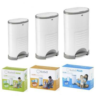 Korbell Hands Free Baby Nappy Disposal Bin + Biodegradable Liner - Ready to Use