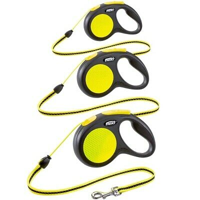 Flexi NEON Retractable Dog Lead - Reflective Cord or Tape Extending Leash 3m, 5m