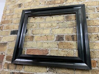Antique Glossy Piano Black Veneered Picture Frame, c Victorian, Large to Medium
