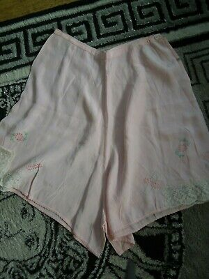 1920S French Silk Knickers Pink With Embroidery Excellent Condition