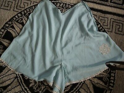 1920S French Silk Knickers Blue With Embroidery Excellent Condition