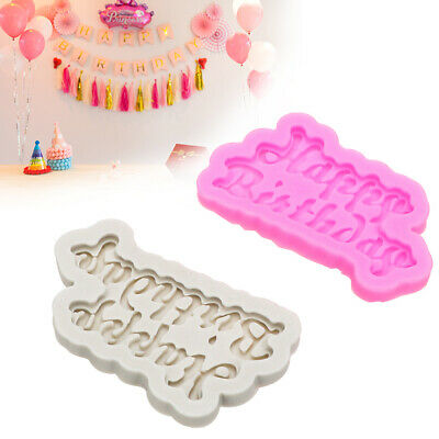 Happy Birthday Silicone Mould Cutter Cupcake Chocolate Cake Top Mold Decoration