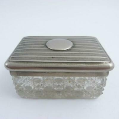 A Vintage Silver Plated And Cut Glass Dressing Table  Box, Art Deco