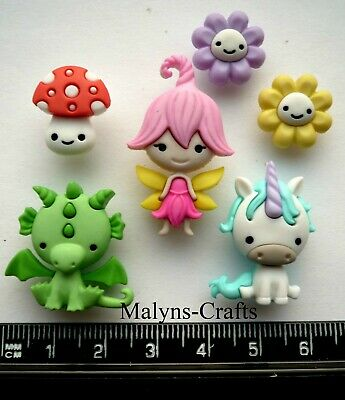 FAIRIES WELCOME Novelty Craft Buttons Baby Unicorn Dragon Fairy Door Princess